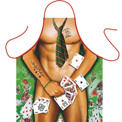 Keukenschort strip poker man