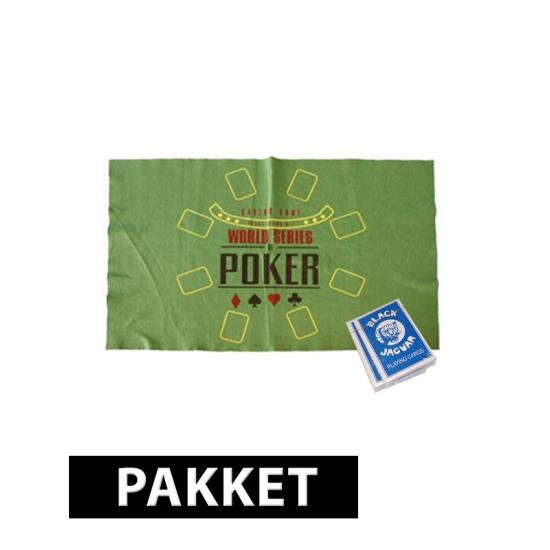 Poker setje met speelmat en kaarten