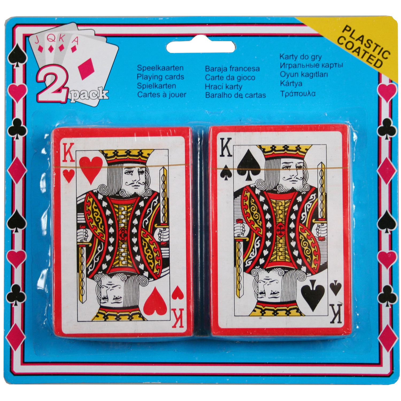 Set van 2x geplastificeerd poker kaartspel speelkaarten
