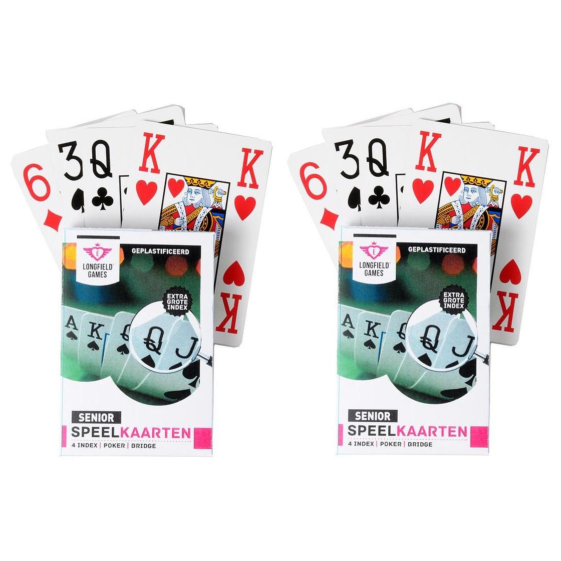 2x senioren speelkaarten plastic poker bridge kaartspel