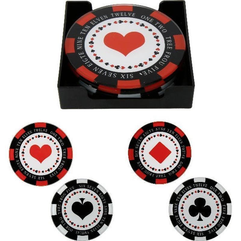 4x ronde glazen poker fiches glasonderzetters 10 cm
