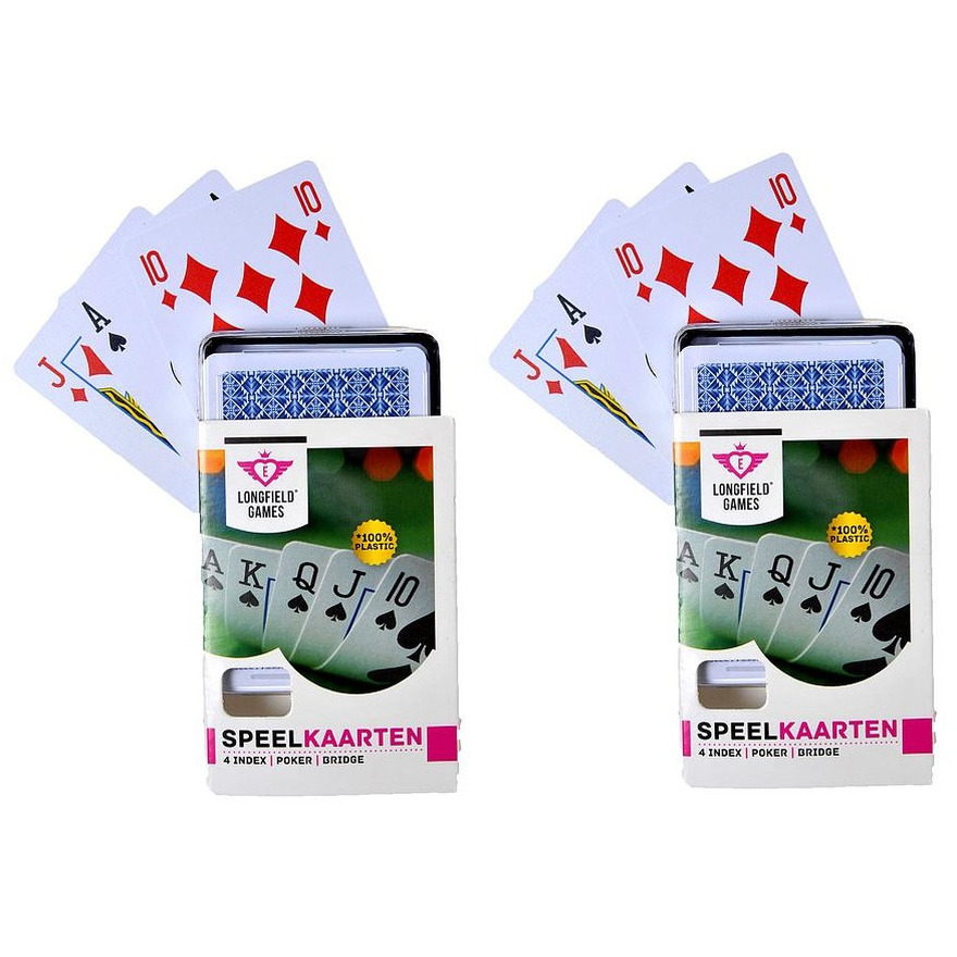 4x speelkaarten plastic poker bridge kaartspel in bewaar box
